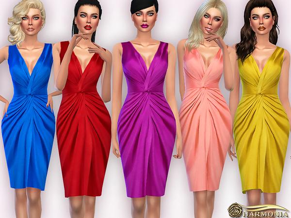 The Sims Resource: Plunging V neckline Gathered Silk   Satin Dress