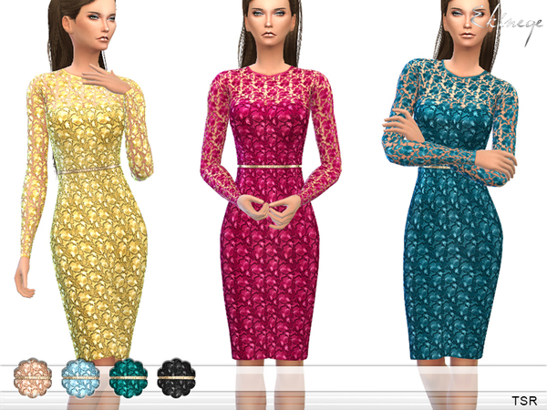 The Sims Resource: Floral Lace Dres by ekinege
