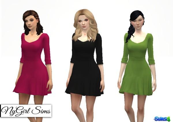 NY Girl Sims: Scoop Neck Skater Dress