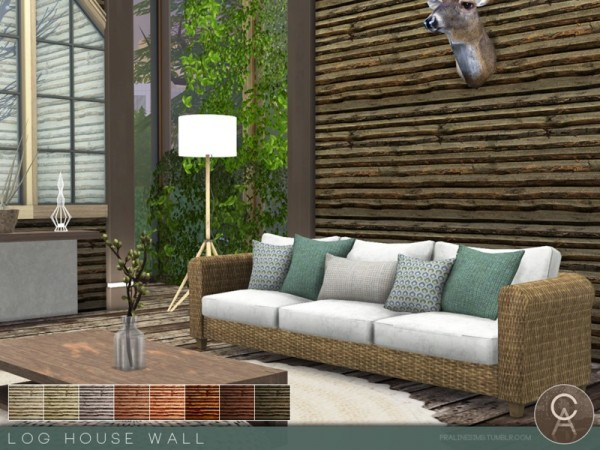 The Sims Resource: Log House Wall by Pralinesims