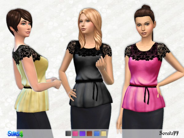 The Sims Resource: Elegant satin top with lace by Sonata77