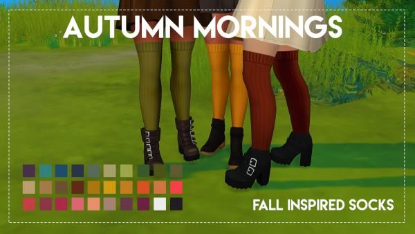 Simsworkshop: Autumn Mornings Socks by Weepingsimmer