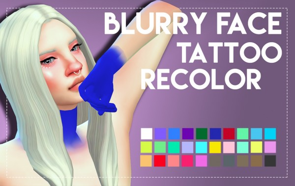 Simsworkshop: Blurry Face Tattoo by Weepingsimmer