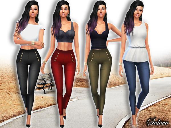 The Sims Resource: Casual High Waist Skinny Pants by Saliwa