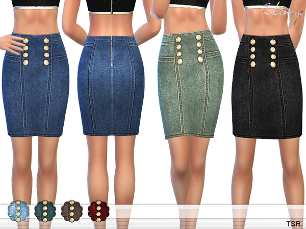 The Sims Resource: Denim Skirt With Golden Buttons by ekinege