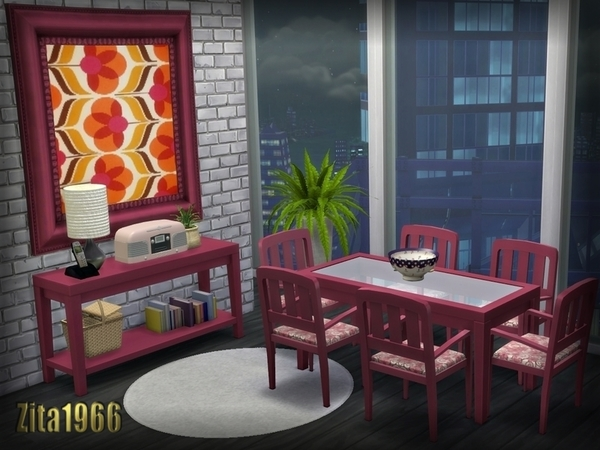The Sims Resource: Retro pink diningroom by ZitaRossouw