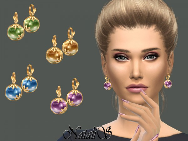 The Sims Resource: Leafs and cabochon earrings by NataliS