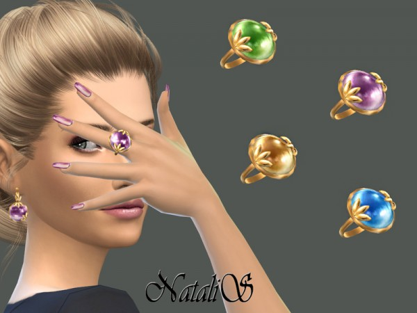The Sims Resource: Leafs and cabochon ring by NataliS