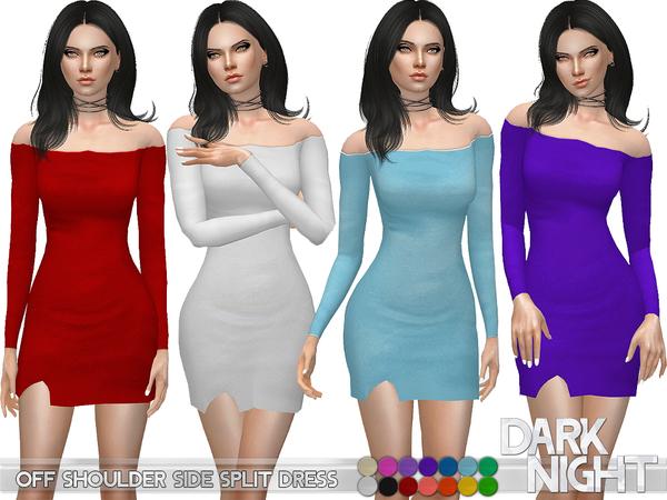 The Sims Resource: Off Shoulder Side Split Dress by DarkNighTt