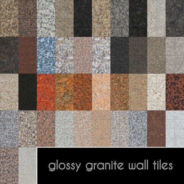 Mod The Sims: Glossy Granite Wall Tiles by Madhox