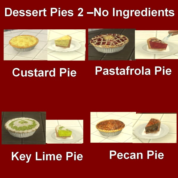 Mod The Sims: Custom Food Dessert Pies 2 by Leniad