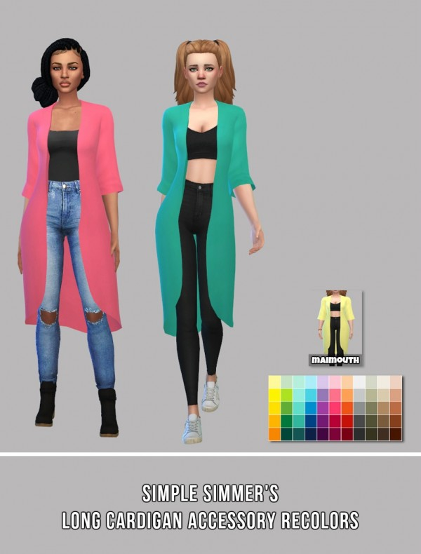 Simsworkshop: Long Acc Cardigan Recolors by maimouth