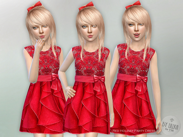 The Sims Resource: Red Holiday Party Dress by lillka