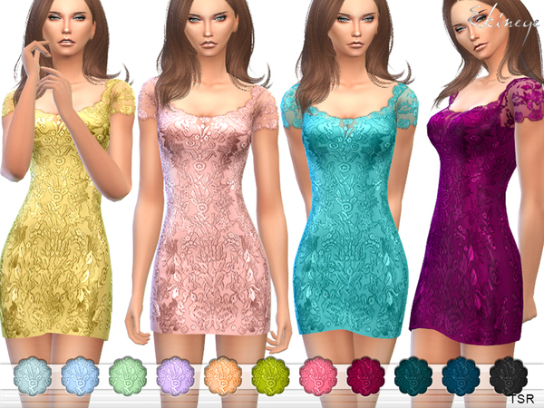 The Sims Resource: Lace dress by Ekinege