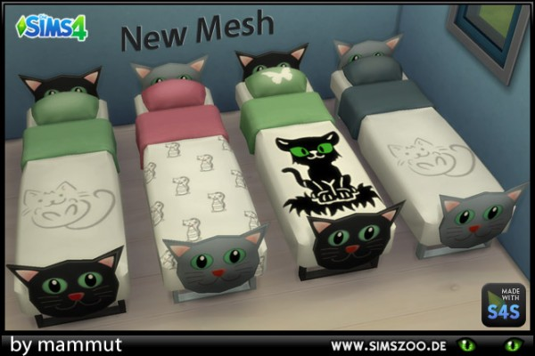 Blackys Sims 4 Zoo: Single bed cat by mammut