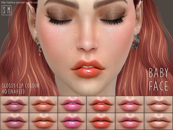 The Sims Resource: Baby Face    Glossy Lip Colour by Screaming Mustard