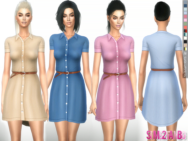 The Sims Resource: 245   Shirt dress with belt by sims2fanbg