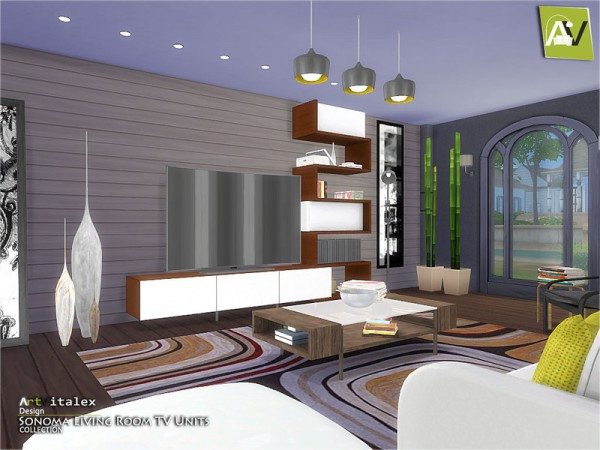 The Sims Resource: Sonoma Living Room TV Units by ArtVitlex