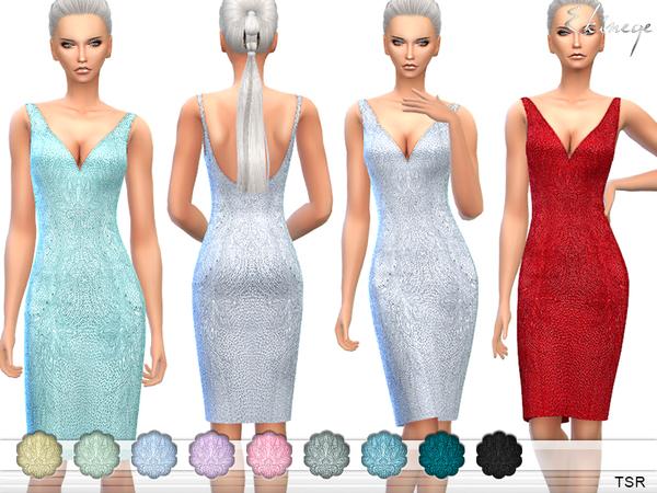 The Sims Resource: Beaded Silk Dress by ekienege