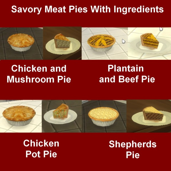Mod The Sims: Savory Meat Pies With Ingredients by Leniad