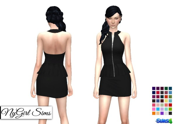 NY Girl Sims: Zippered Peplum Mini Dress