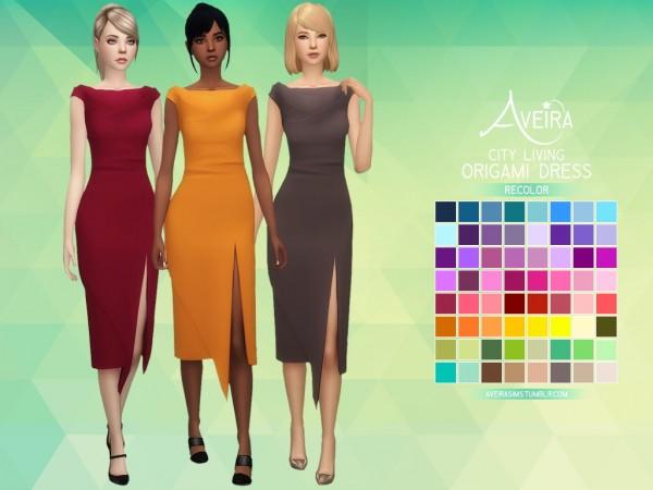 Aveira Sims 4: City Living Origami Dress   Recolor