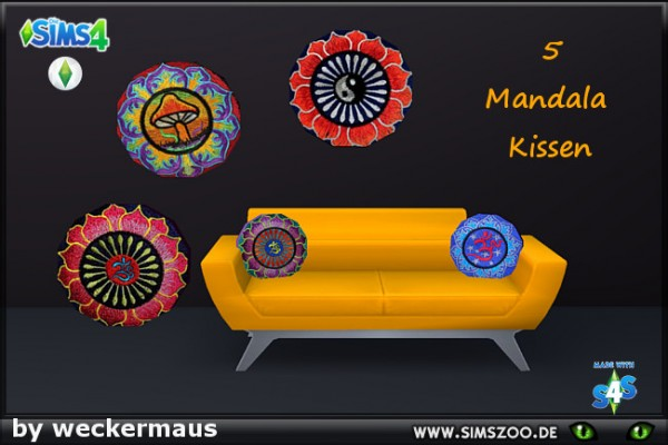 Blackys Sims 4 Zoo: Mandala pillows by  weckermaus