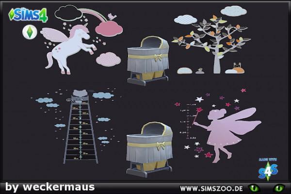 Blackys Sims 4 Zoo: Babyshower Walltattoos by weckermaus