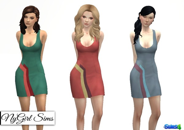 NY Girl Sims: Color Block Panel Mini Dress