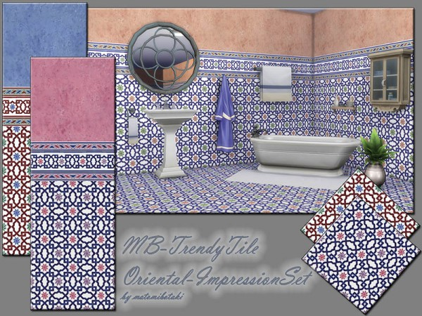 The Sims Resource: Trendy Tile Oriental   Impression Set by matomibotaki