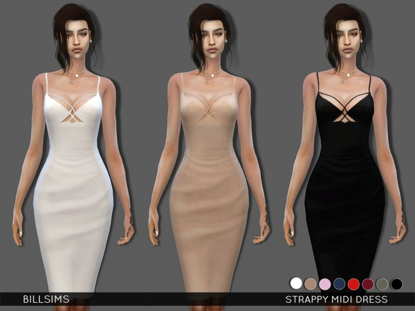 The Sims Resource: Strappy Midi Dress by BillSims