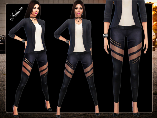 The Sims Resource: Zip Detail Leather Pants by Saliwa