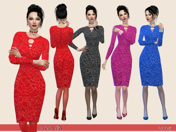 The Sims Resource: Xmas Air dress by Paogae