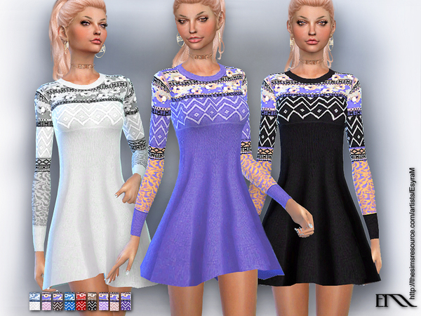 The Sims Resource: Embroidered knit dress by EsyraM