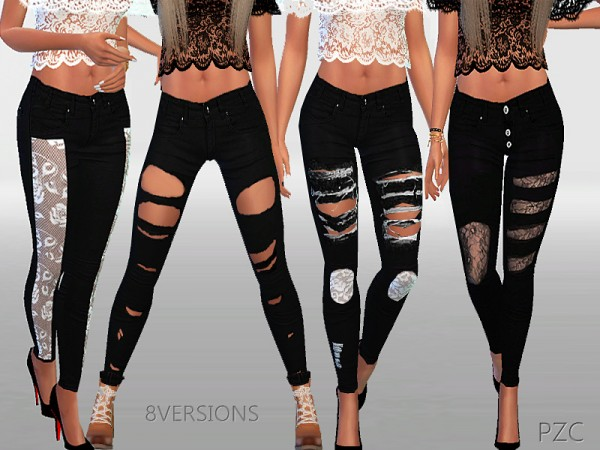 The Sims Resource: Winter black ripped jeans collection by Pinkzombiecupcake