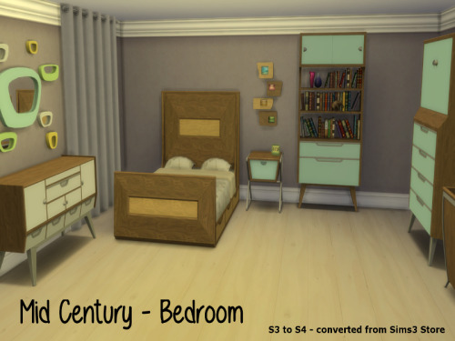 Chillis Sims: Mid Century Bedroom converted from TS3 to TS4