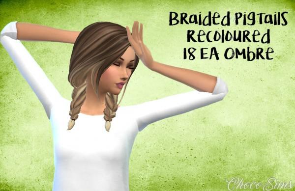 Choco Sims Braided Pigtails Hair Sims 4 Downloads