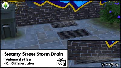 Mod The Sims: Animated Steamy Street Storm Drain by Bakie
