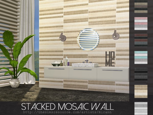 The Sims Resource: Stacked Mosaic Wall by Rirann