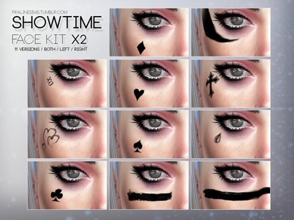 The Sims Resource: Showtime Face Kit X2 by Pralinesims