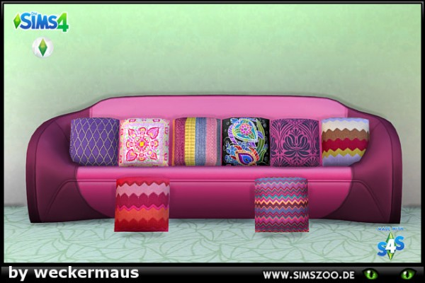 Blackys Sims 4 Zoo: My stitches Magenta pillows by weckermaus