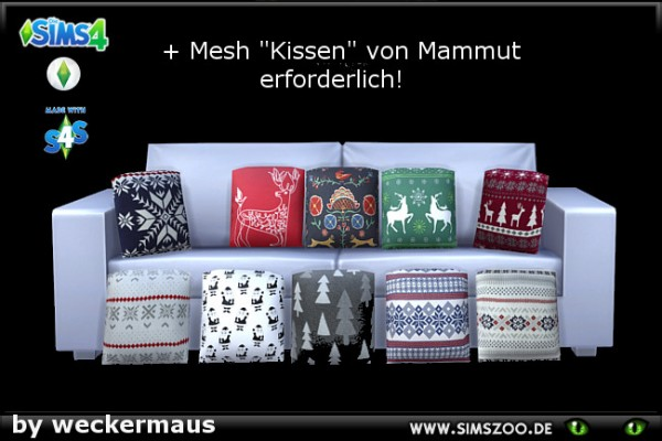 Blackys Sims 4 Zoo: Christmas pillows by weckermaus