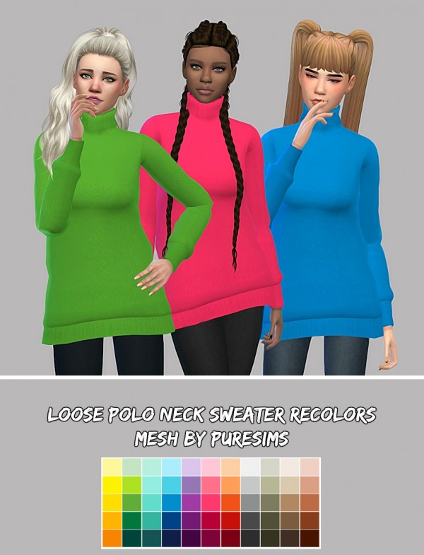 Simsworkshop: Loose Polo Neck Sweater Recolors by maimouth