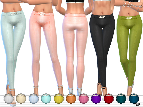 The Sims Resource: Gold Buckle Detail Pants by ekinege