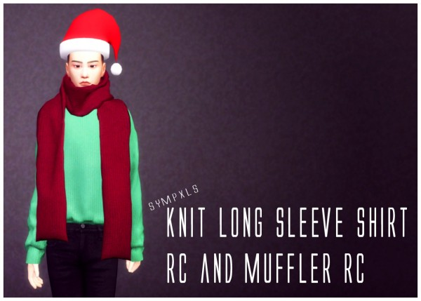 Simsworkshop: Knit Long Sleeve Shirt and Muffler by Sympxls