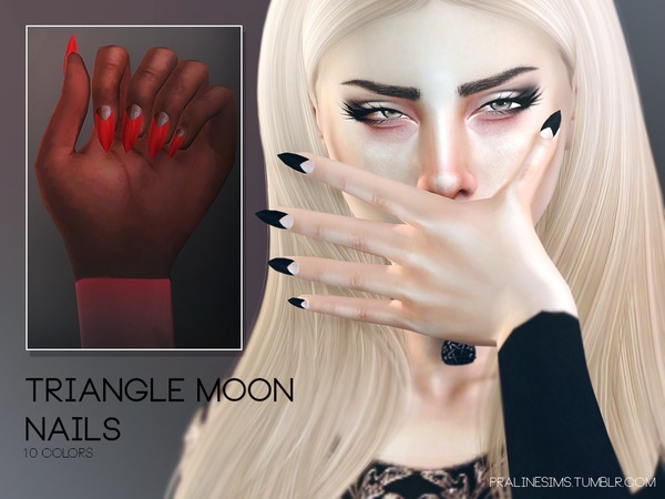 The Sims Resource: Triangle Moon Nails N17 by Pralinesims