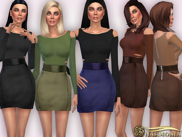 The Sims Resource: Cutout Top Satin Mini Skirt Set by Harmonia