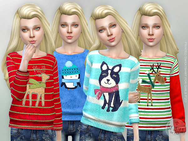 The Sims Resource: Printed Sweatshirt for Girls P20 by lillka