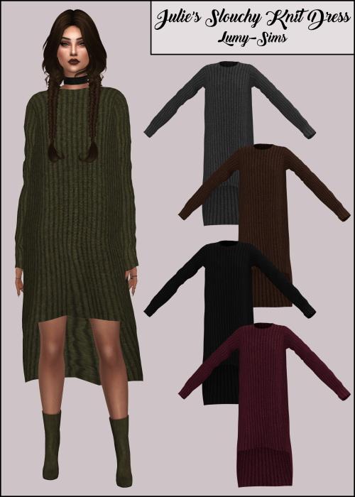 LumySims: Julie's Slouchy Knit Dress