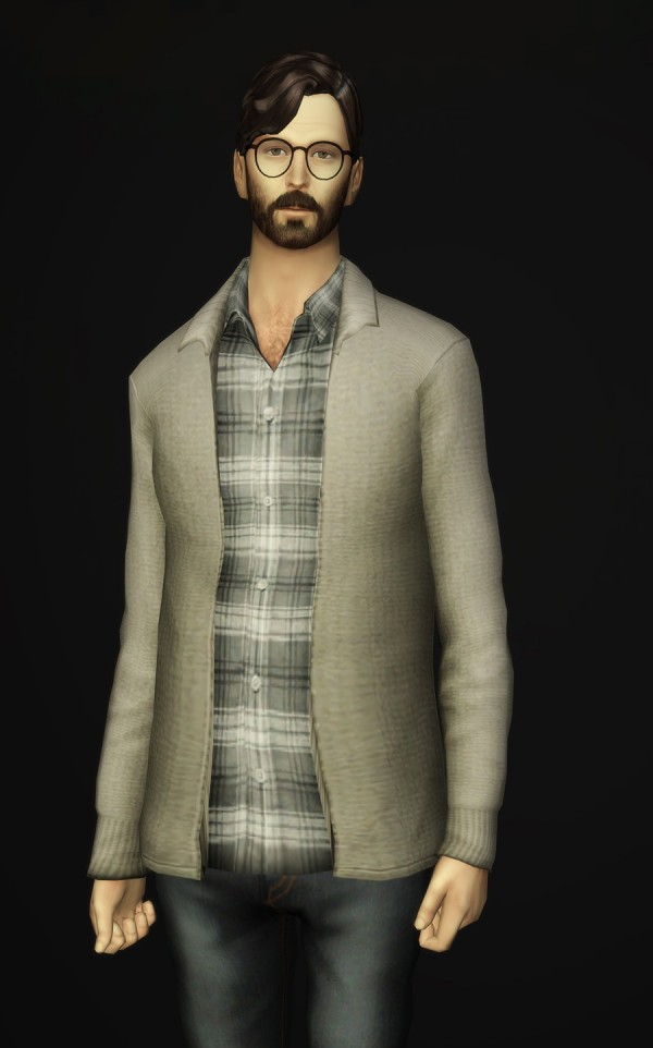 Rusty Nail: Basic Wool cardigan with shirt